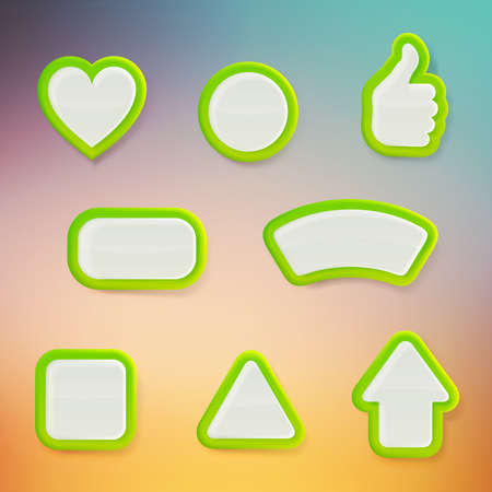Set of eight differently shaped green glossy vector buttons, color layer is separate and easy to edit Vector