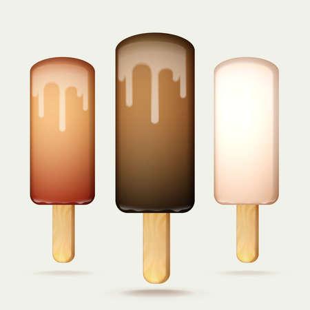 wooden stick: Melting ice cream bar on a wooden stick, set of three types of chocolate glazing, vector illustration Illustration