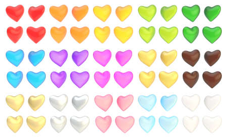 Glossy heart shape isolated over the white background, set of fifteen colors and four foreshortenings photo