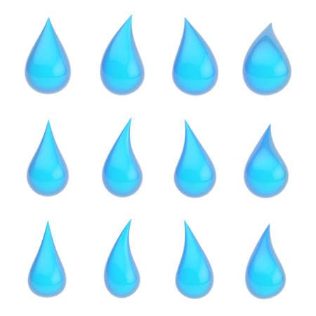 Set of twelve different blue liquid drops isolated over the white background photo