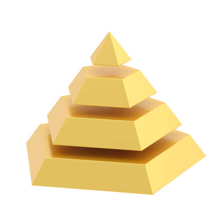 segment: Pyramid divided into four golden segment layers, isolated over the white background Stock Photo