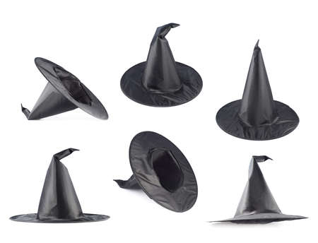 pointy hat: Black pointed cone shaped witch hat isolated over the white background, set of six foreshortenings