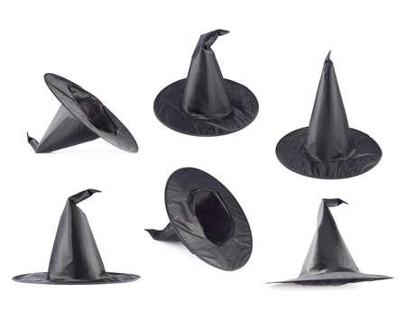 wizard hat: Negro puntas en forma de sombrero de bruja cono aislado sobre el fondo blanco, conjunto de seis escorzos