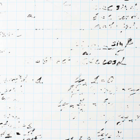 trigonometry: Squared sheet of paper filled with partially erased trigonometry math equations and formulas as a background composition Stock Photo
