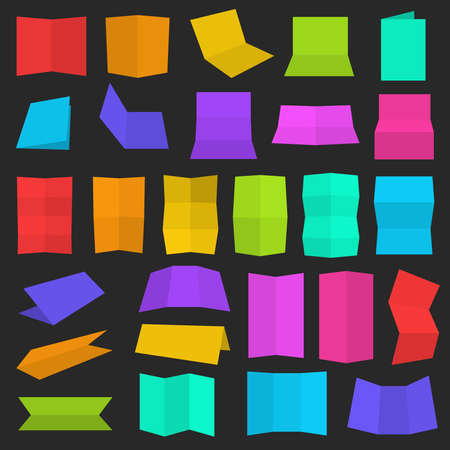 Multiple flat style folded A4 colorful paper sheet set,  illustration, color and shading layers are separate, easy to edit Vector