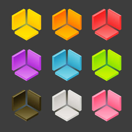 orthographic: Abstract cube shape made of orthographic blocks, shading and color layers are separate, easy to edit