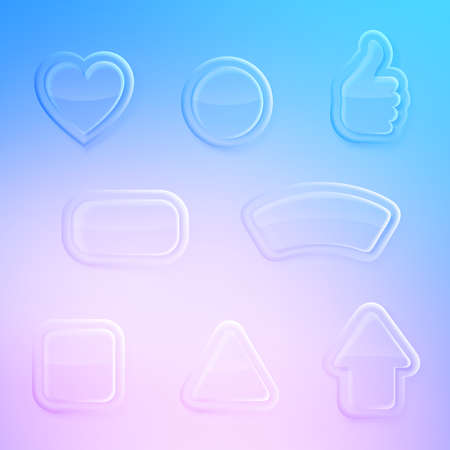 Set of eight differently shaped transparent glossy glass buttons Vector