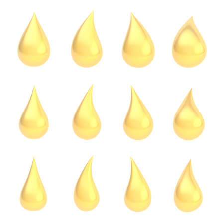 Set of twelve different golden liquid drops isolated over the white background photo