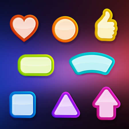 Set of eight differently shaped colorful glossy buttons, color layer is separate and easy to edit Vector