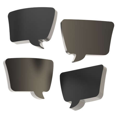 Text bubble black dimensional shapes isolated over the white background, set of four foreshortenings photo