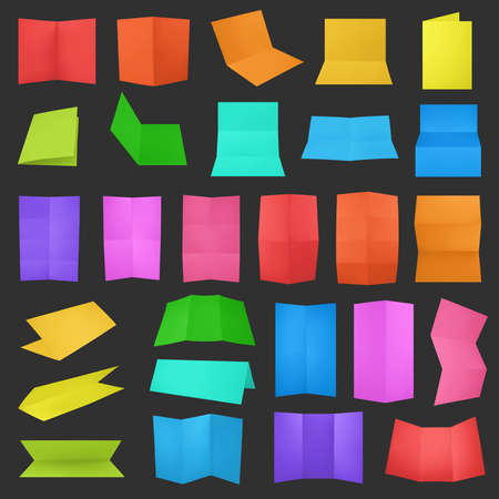 Multiple colorful folded A4 paper sheet set with the realistic shading Vector