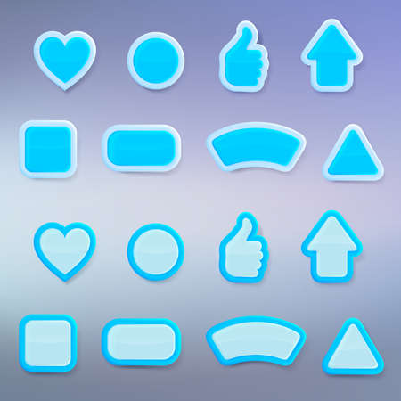 Set of eight differently shaped blue glossy vector buttons, each presented in two color versions, color layer is separate and easy to edit Vector