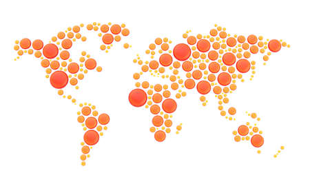 World map made of multiple red and orange glossy dimensional round glass shapes, composition isolated over the white background photo