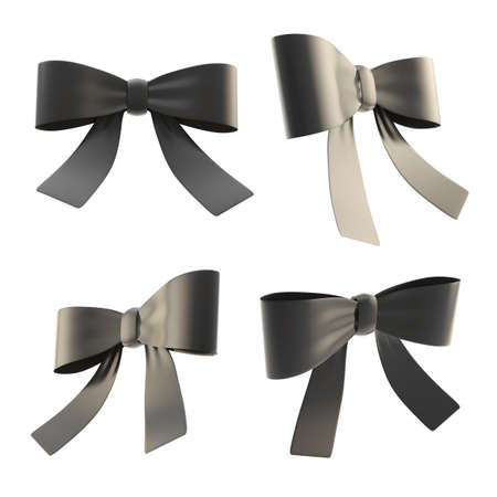 Set of black decorational ribbon bows in four different foreshortenings, isolated over white background photo