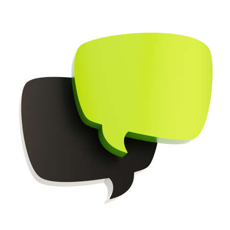 Composition of two black and green text bubbles isolated over the white background Stock Photo