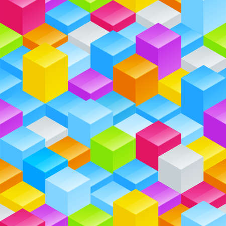 Abstract seamless background vector pattern texture made of colorful glossy blocks Vector