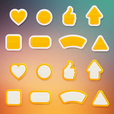 Set of eight differently shaped orange glossy vector buttons, each presented in two color versions, color layer is separate and easy to edit Vector