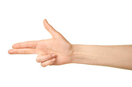 Female caucasian hand pointing gun palm gesture isolated over the white background photo