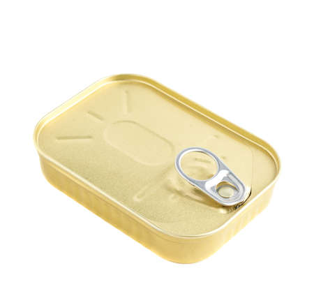 sardine can: Closed easy open sardine can with the pull tab isolated over the white background