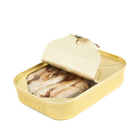 sardine can: Opened easy open sardine can with the pull tab isolated over the white background