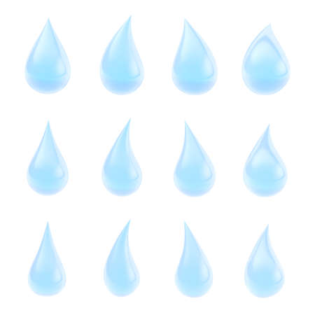 Set of twelve differen blue transparent liquid drops isolated over the white background photo