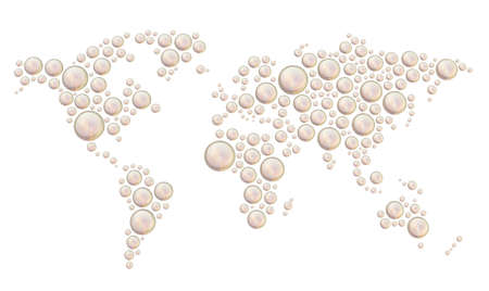 World map made of multiple pearl like colored glossy dimensional round shapes, composition isolated over the white background photo