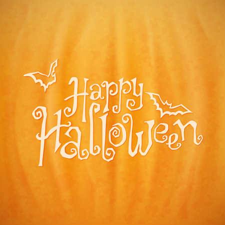 Happy Halloween calligraphic vector lettering over a background of an orange pumpkin texture Vector