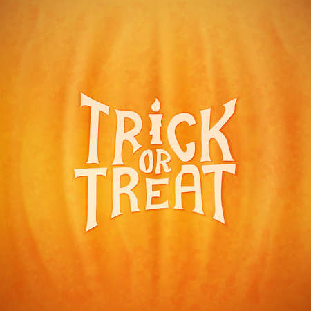Trick or treat calligraphic vector lettering over a background of a Halloween pumpkin texture Vector