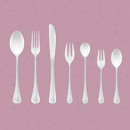 table sizes: Vector set of steel kitchen table cutlery of different sizes and shapes Illustration