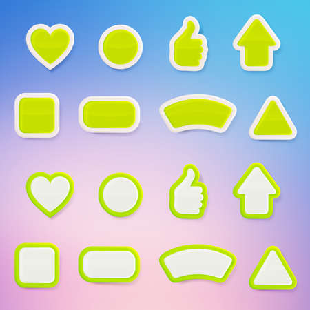 Set of eight differently shaped green glossy vector buttons, each presented in two color versions, color layer is separate and easy to edit Vector