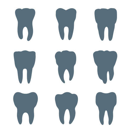 teeth whitening: Vector set of nine teeth silhouettes, each tooth has different shape and size