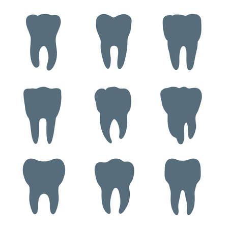 Vektor-Satz von neun Zähne Silhouetten, hat jeder Zahn unterschiedlicher Form und Größe