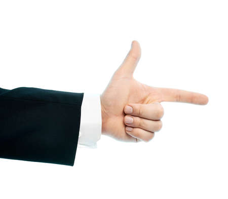Dressed in a business suit caucasian male hand pointing gesture, high-key light composition isolated over the white background photo