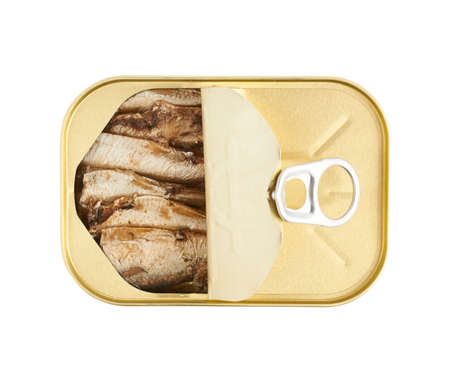 sardine can: Opened easy open sardine can with the pull tab isolated over the white background, top view