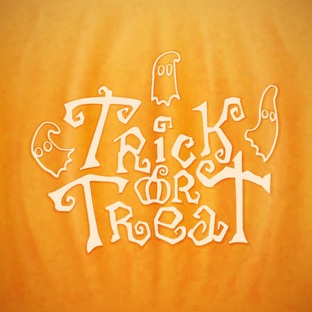 Trick or treat calligraphic vector lettering over a background of a Halloween pumpkin texture Illustration