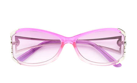 Pair of stylish pink female glasses isolated over the white background, front view composition photo