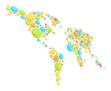 World map made of multiple colorful glossy plastic dimensional round shapes, composition isolated over the white background photo