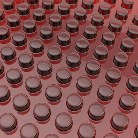 cylindrical: Transparent red plastic surface covered with multiple cylindrical bumps as an abstract background composition