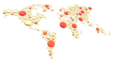 World map made of multiple golden metal and red glass dimensional round shapes, composition isolated over the white background photo