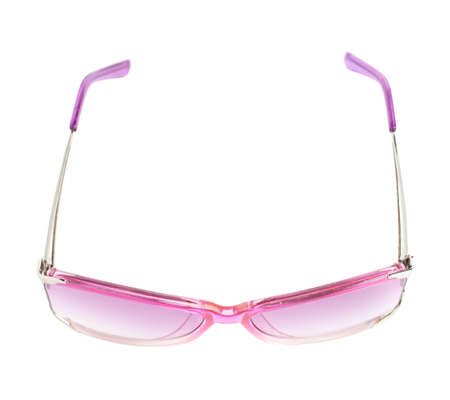 Pair of stylish pink female glasses isolated over the white background photo