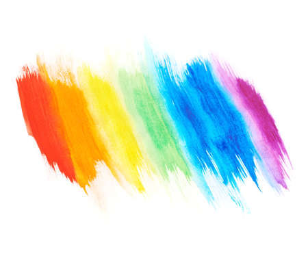 Rainbow gradient made with the watercolor paint strokes over the white background, shallow depth of field composition
