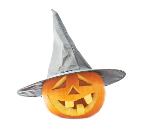 cone shaped: Jack-o-lanterns orange happy smiling pumpkin head in a black pointed cone shaped wizards hat, composition isolated over the white background Stock Photo