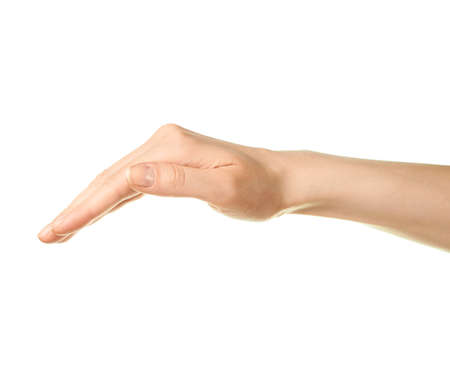 Female caucasian hand gesture of a slightly bent palm isolated over the white background photo
