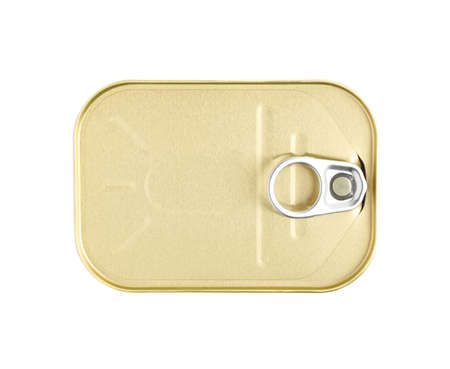'pull over': Closed easy open sardine can with the pull tab isolated over the white background, top view