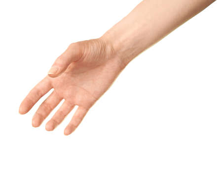 suggesting: Female caucasian hand gesture suggesting a handshake, isolated over the white background