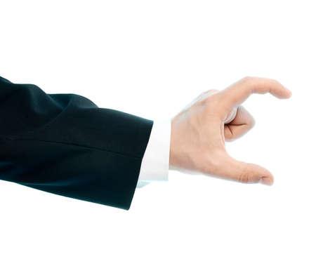 decreasing in size: Vestita in un tailleur bianco caucasico mano maschile gesto di mostrare il formato con due dita, alto-chiave composizione della luce isolato su sfondo bianco