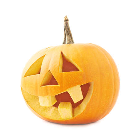 Jack-o lanterns orange halloween pumpkin head with the happy smiling facial expression Stock Photo