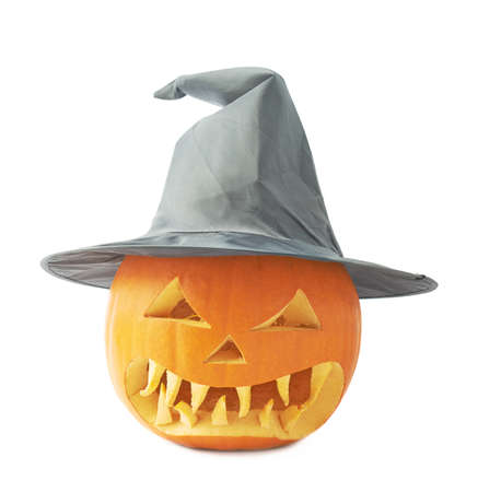 cone shaped: Jack-o lanterns orange pumpkin head with a scary expression in a black pointed cone shaped wizards hat
