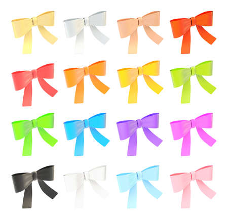 Set of decorational ribbon bows isolated over white background photo