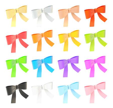 Set of decorational ribbon bows isolated over white background photo